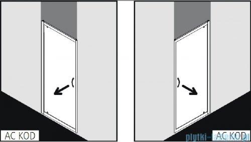 Kermi Acca Drzwi prysznicowe z przesuniętym punktem obrotu, szkło przezroczyste AccaClean, profile srebrne 100cm ACKOD10019VPK