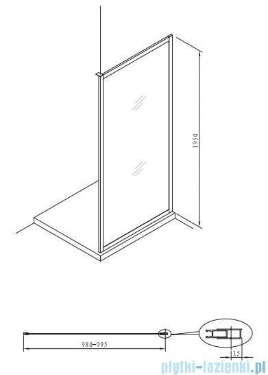 Roca Town ścianka boczna 100cm szkło przejrzyste MaxiClean AMP2010012M
