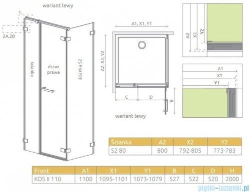 Radaway Arta Kds II kabina 110x80cm lewa szkło przejrzyste 386521-03-01R/386104-03-01/386110-03-01