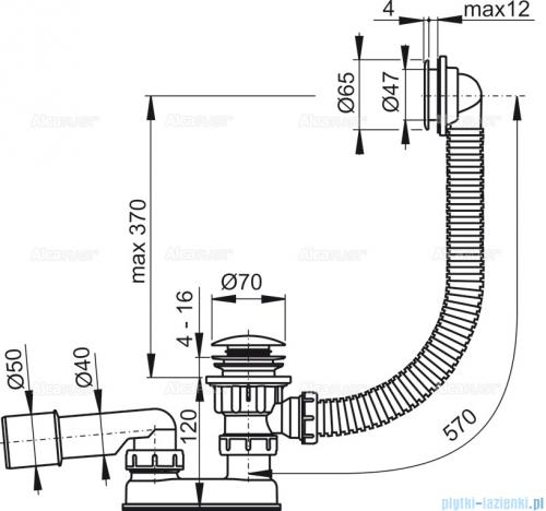 Alcaplast  syfon wannowy klik-klak, chrom A505KM