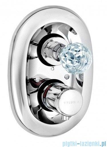 Kludi Adlon podtynkowa bateria natryskowa z termostatem chrom z kryształowym uchwytem 5172005G5