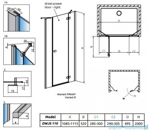 Radaway Fuenta New DWJS drzwi wnękowe 110cm prawe szkło przejrzyste rysunek techniczny