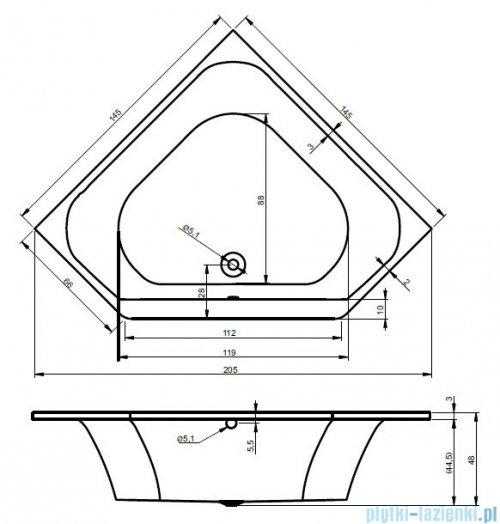 Riho Austin wanna symetryczna 145x145 z hydromasażem TOP Hydro 6+4+2/Aero19 BA11T5