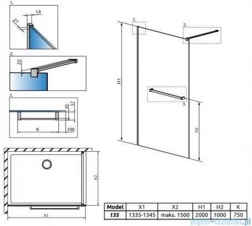 Radaway Modo New II z wieszakiem kabina Walk-in 135x200 szkło przejrzyste 389135-01-01W