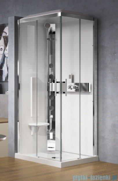 Novellini Glax 3 kabina z hydromasażem 90x70 lewa srebrny GL3A7099SM1F-1B