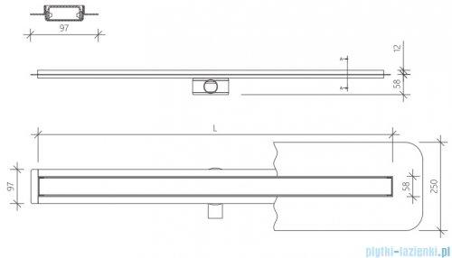 Wiper Premium Slim Pure odpływ liniowy 70 cm z kołnierzem WPS700PU