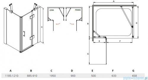 Besco Viva kabina prostokątna prawa 120x90x195cm przejrzyste VPP-129-195C