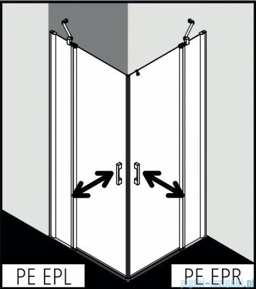 Kermi Pega wejście narożne, jedna połowa z polem stałym, prawa 80 cm, szkło przezroczyste PEEPR08020VPK