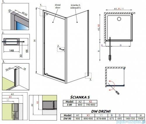 Radaway Twist DW+S Kabina prysznicowa 90x80 szkło przejrzyste 382002-01/382011-01