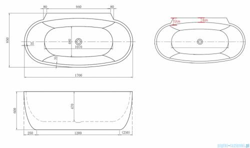ScandiBath Mandal wanna wolnostojąca/przyścienna 170x85cm+ syfon klik-klak Q360S-1701