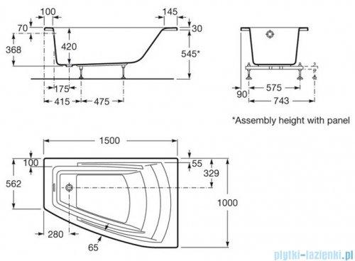 Roca Hall wanna asymetryczna 150x100 cm prawa akrylowa A248165000