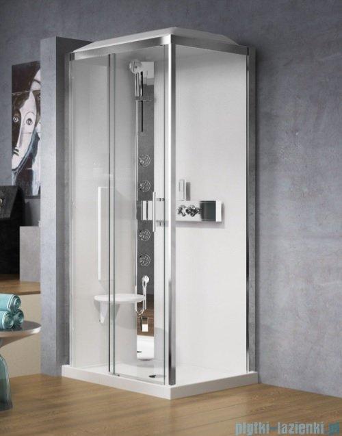Novellini Glax 3 kabina prysznicowa z hydromasażem 120x80 lewa srebrny GL32P129SM1-1B