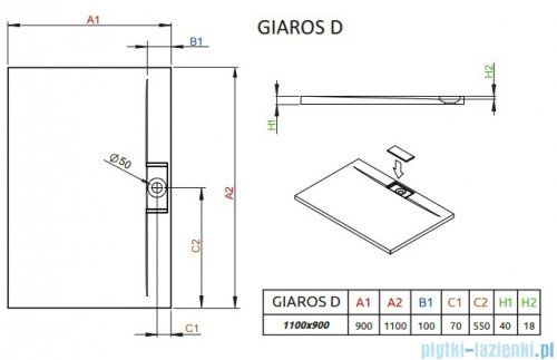 Radaway Giaros D Brodzik prostokątny 110x90x4cm MKGD1190-03