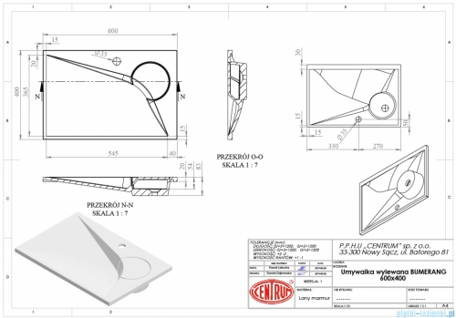 Vayer Bumerang 60x40cm Umywalka prostokątna blatowa