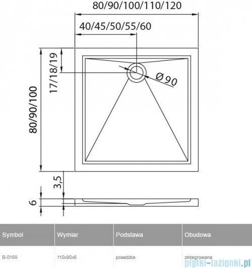 New Trendy Cantare brodzik prostokątny posadzkowy 110x90 B-0169