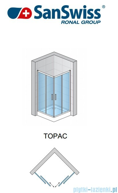 SanSwiss Top-Line TOPAC Wejście narożne 75cm profil biały Lewe TOPG07500407