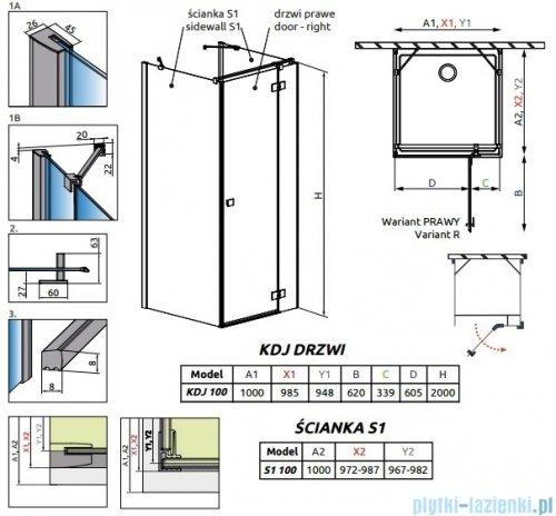 Radaway Essenza New Kdj+S kabina 100x100x100cm prawa szkło przejrzyste rysunek techniczny