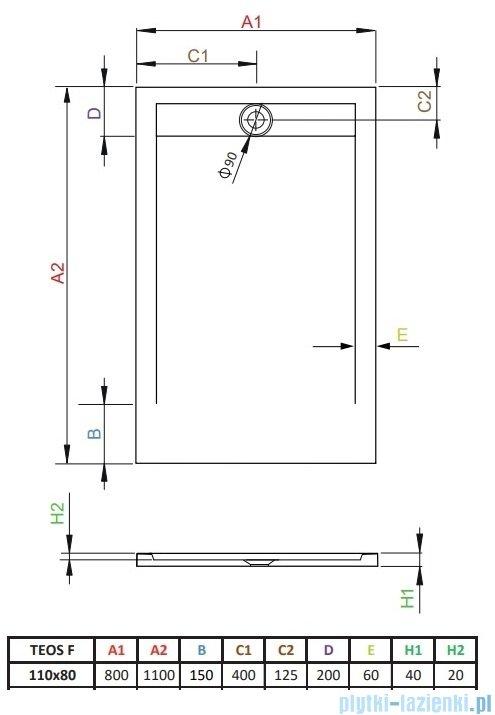 Radaway Teos F brodzik 110x80cm cemento HTF11080-74
