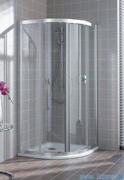 Kermi Atea Kabina ćwierćkolista, drzwi przesuwne, szkło przezroczyste, profile srebrne 120x120cm ATQ1012018VAK