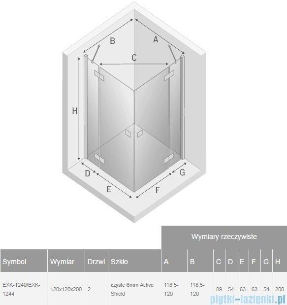 New Trendy Reflexa 120x120x200 cm kabina kwadratowa przejrzyste EXK-1240/EXK-1244
