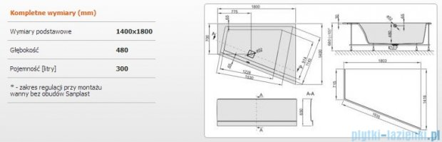 Sanplast Space Line Wanna trapezowa prawa+obudowa+stelaż+adapter z pokrywką WTP+kpl/SPACE 180x140+SP, 610-100-1370-01-000