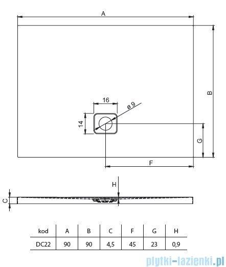 Riho Basel 412 brodzik kwadratowy czarny połysk 90x90x4,5cm DC2216