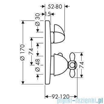 Hansgrohe Axor Carlton Bateria termostatowa podtynkowa z uchwytem krzyżowym chrom/złoty 17705090