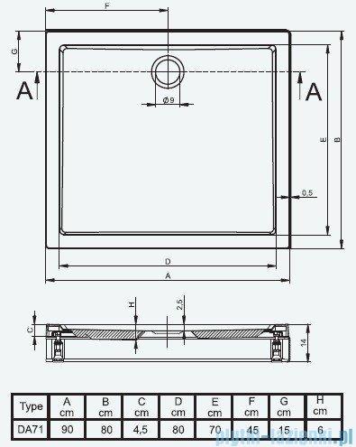 Riho Brodzik prostokątny płaski 271 DA71 90x80x14 + obudowa + nogi
