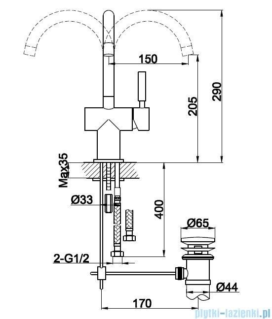 Kohlman Roxin bateria umywalkowa QB150R