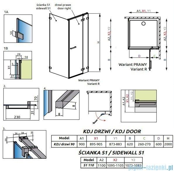 Radaway Euphoria KDJ Kabina prysznicowa 90x120 prawa szkło przejrzyste 383044-01R/383054-01