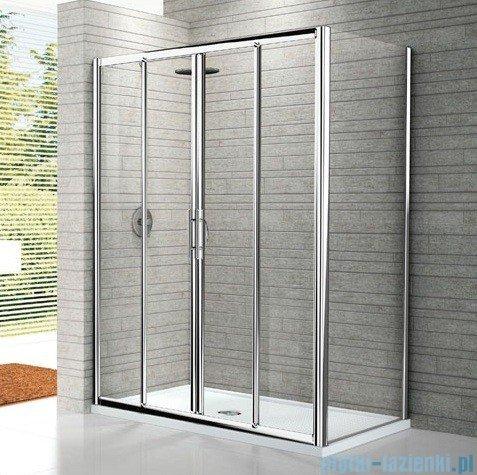 Novellini Drzwi prysznicowe przesuwne LUNES 2A 156 cm szkło przejrzyste profil chrom LUNES2A156-1K