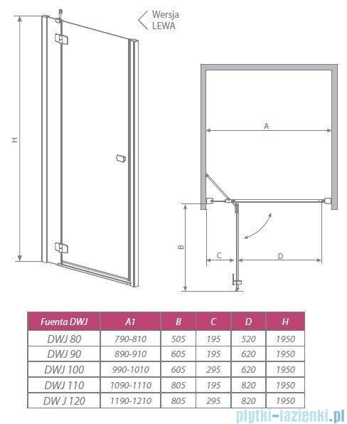 Radaway Drzwi wnękowe Fuenta DWJ 130 prawe szkło przejrzyste 381017-01NR