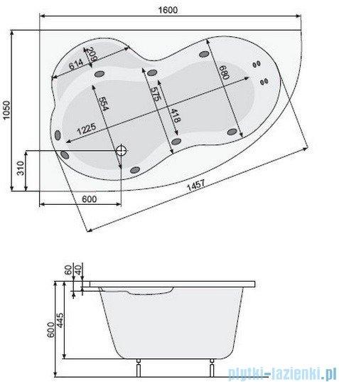 Poolspa Wanna asymetryczna MISTRAL 160x105 lewa + hydromasaż Smart 2 PHA3X10ST2C0000