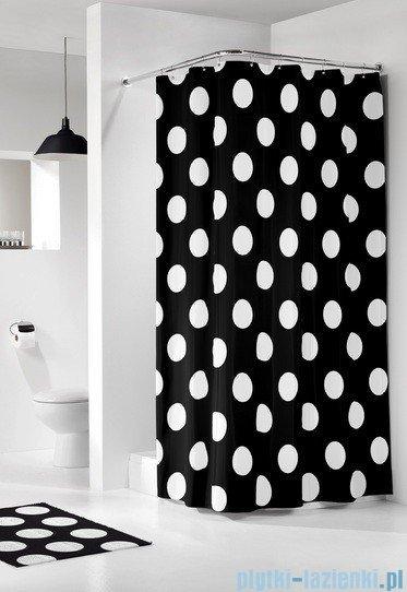 Sealskin Polka czarna zasłona prysznicowa tekstylna 180x200cm 233101319