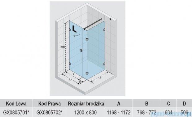 Riho Kabina prysznicowa Scandic Lift M204 120x80x200 cm PRAWA GX0805702