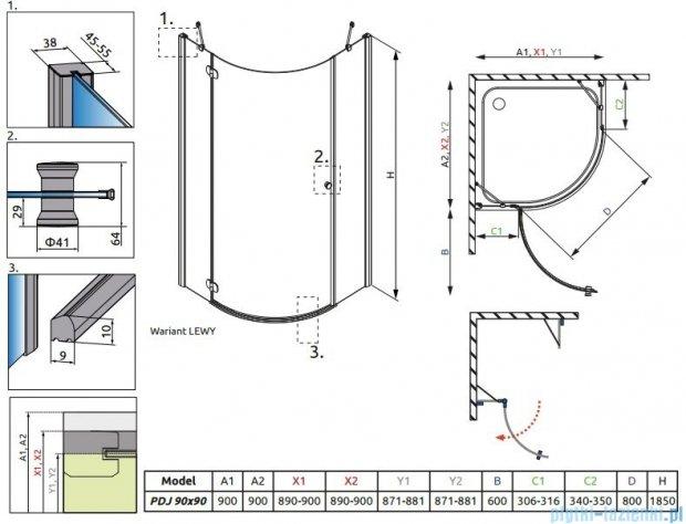 Radaway Torrenta PDJ kabina półokrągła 90x90 lewa szkło grafitowe + Brodzik Delos A + Syfon 31700-01-05N