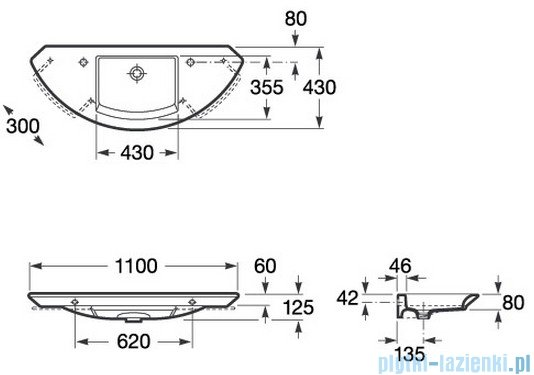 Roca Mohave Umywalka 110x43cm bez otworu na baterię A327879000