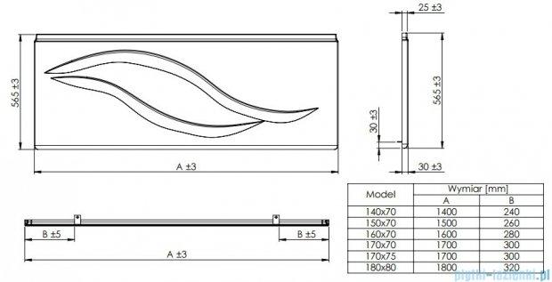 Roca Linea obudowa czołowa do wanny 150cm A25T006000