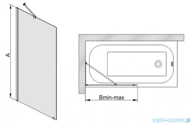 Sanplast parawan wannowy szkło przejrzyste  PW1/FREE-70 przejrzyste 600-260-0500-42-401