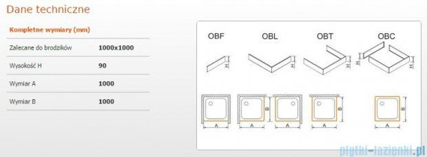 Sanplast Obudowa brodzika OBL 100x100x9 cm 625-400-1040-01-000