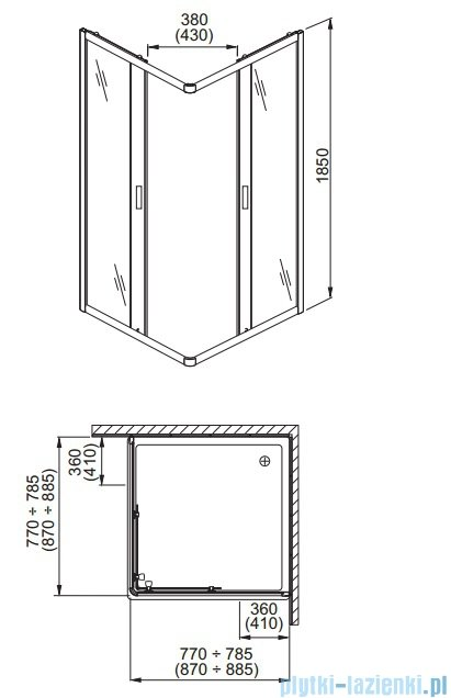 Aquaform Lazuro kabina prysznicowa kwadratowa 90cm szkło przejrzyste 06569
