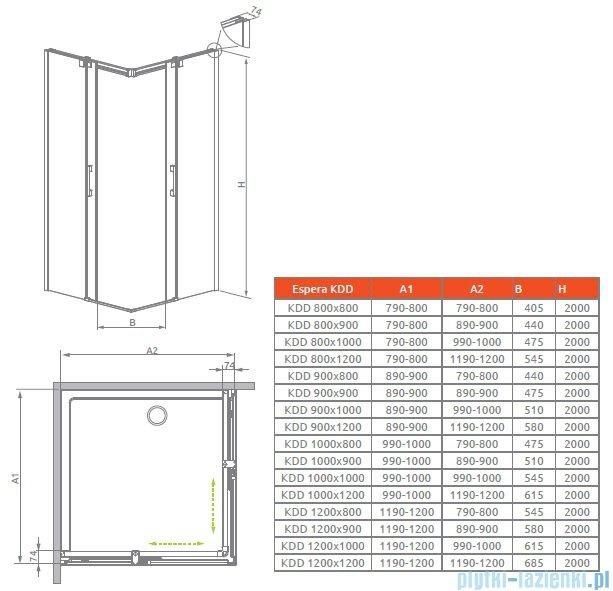 Radaway Espera KDD Kabina prysznicowa 120 część lewa szkło przejrzyste 380153-01L