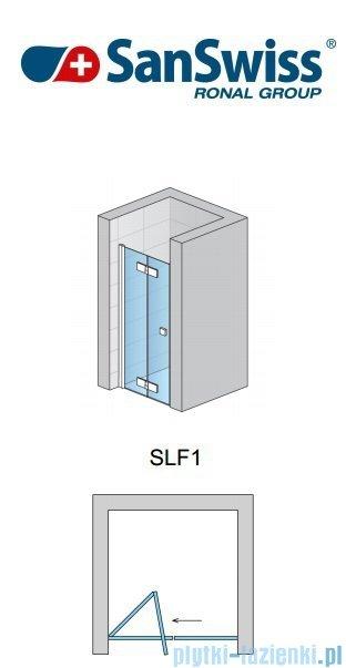 SanSwiss Swing Line F SLF1 Drzwi 2-częściowe 90cm profil srebrny Lewe SLF1G09000107