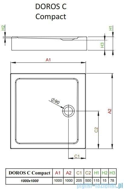 Radaway Doros C Compact brodzik kwadratowy 100x100cm SDRC1010-05