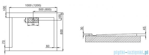 Polimat Comfort brodzik akrylowy posadzkowy 120x80 czarny połysk 00183