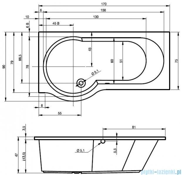 Riho Dorado Wanna asymetryczna 170x75 prawa z hydromasażem TOP Aero12 BA80T1