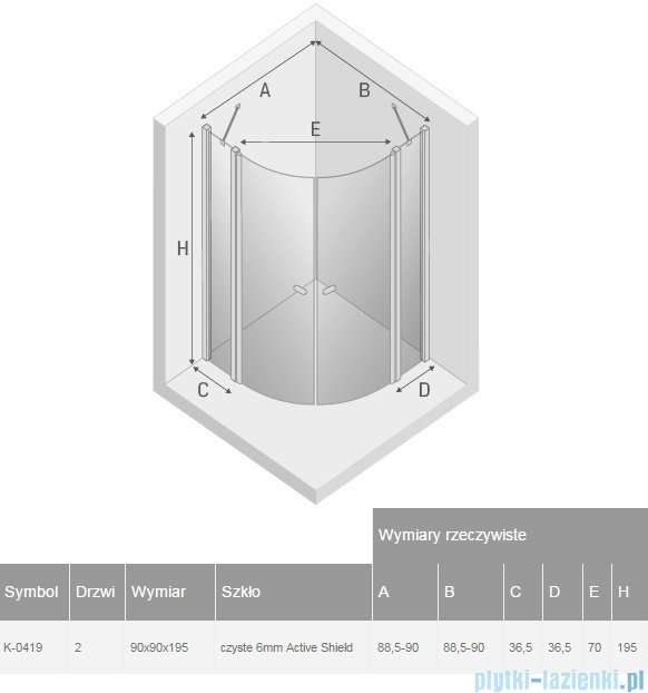 New Trendy New Soleo kabina półokrągła R55 90x90x195 cm przejrzyste K-0419