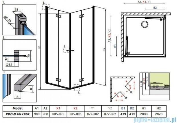 Radaway Essenza New Kdd-B kabina 90x90cm szkło przejrzyste 385071-01-01L/385071-01-01R