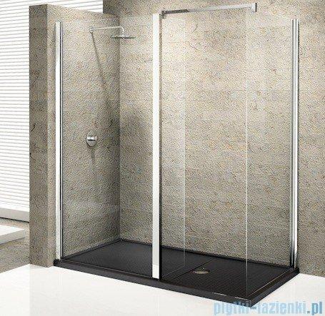 Novellini Elysium Kuadra H35 Ścianka boczna 80 szkło przejrzyste profil chrom KUADH80-1K