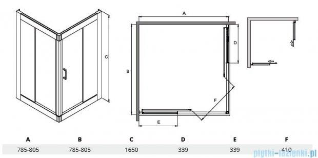 Besco Modern kabina kwadratowa 80x80x165cm przejrzyste MK-80-165-C
